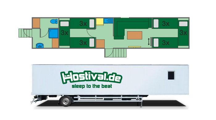 Abmessungen Hosteltrailer von hostival.de - Festival Service