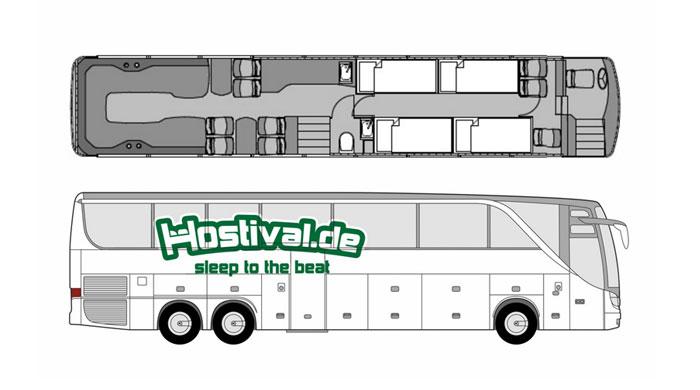Abmessungen Tourbus von hostival.de - Festival Service