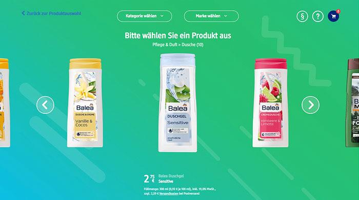 Duschgel selbst gestalten - dm-Produktdesigner Screenshot