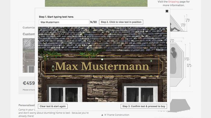 Zelt personalisieren - FieldCandy - Screenshot Personalisierung