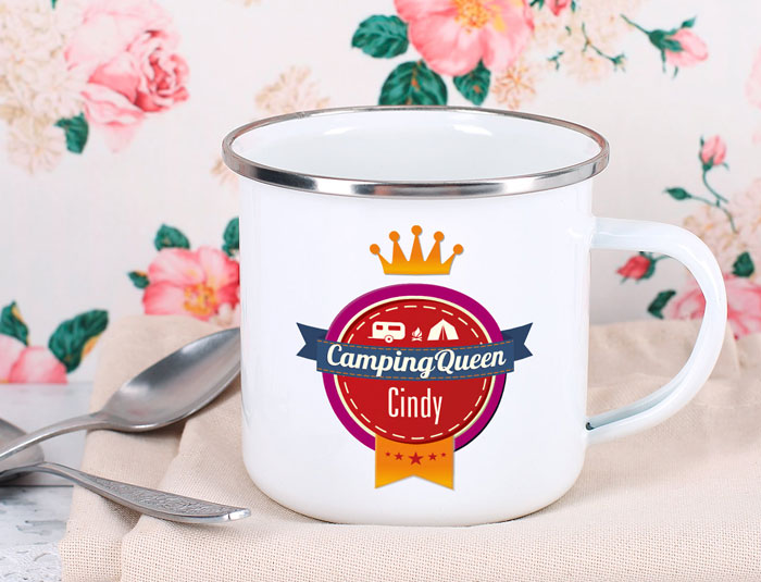 "Emaille Becher ""CampingQueen"" + Wunschname"