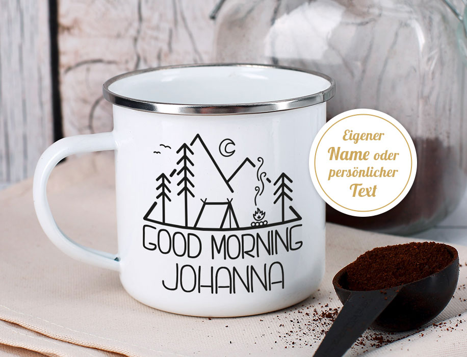 Emaille Becher - Tasse personalisierbar - geschenke-online - Campingartikel selbst gestalten - Camping Royal