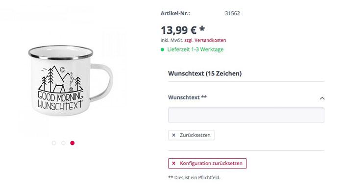 Personalisierung individuell - geschenke-online.de Screenshot
