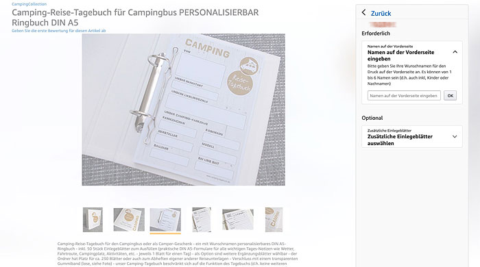 "Camping-Reisetagebuch ""Campingbus"" - personalisierbar - Amazon-Screenshot"
